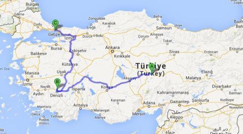 Roteiro: Capadócia (via Kayseri), Pamukkale (via Denizli e Istambul.